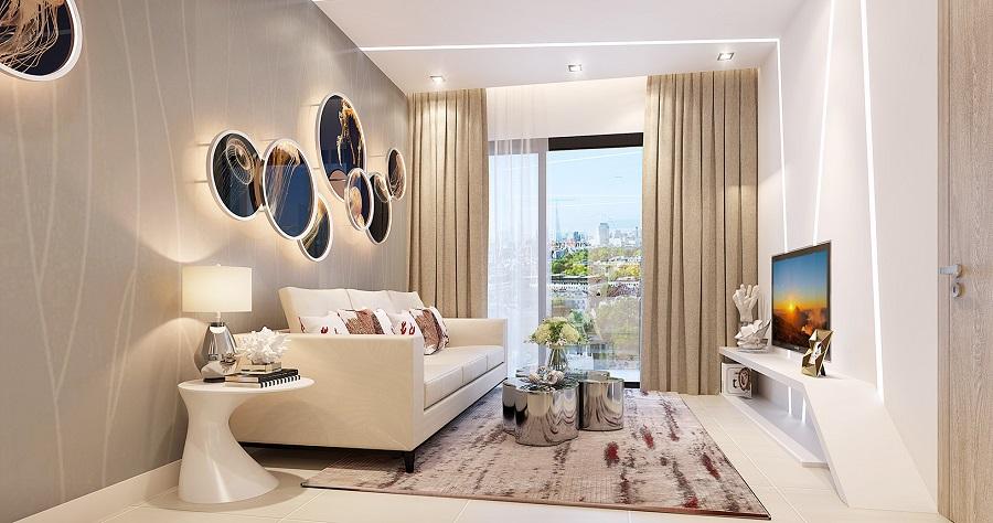 Không gian phòng khách trong căn hộ